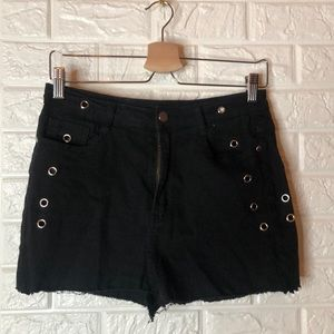 Fashion Nova black eyelet cut off jean shorts